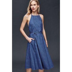 Gap denim apron front tie dress